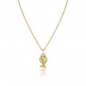 Yellow Gold Gem-Set Fish Pendant